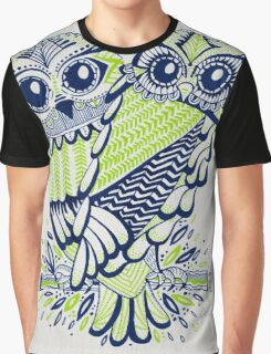 Owls – Chartreuse & Navy Graphic T-Shirt