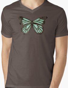 Mint Butterfly Mens V-Neck T-Shirt