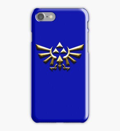 Tri-force zelda on blue iPhone Case/Skin