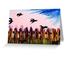 Fence line and ravens, watercolor Greeting Card