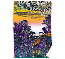 House in the shade of purple trees Poster