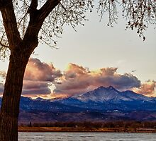 Longs Peak and Mount Meeker Across the Lake Sunset View by Bo Insogna