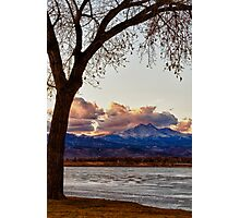 Longs Peak and Mount Meeker Across the Lake Sunset View Photographic Print
