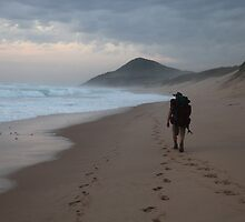 Mozambican Beach - Lone Beach Hiker by Chris Fick