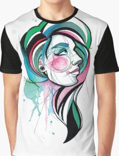 Pretty Watercolor Lady Graphic T-Shirt