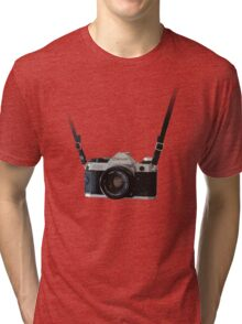 Amazing Hanging Canon Camera - AE1 Program! Tri-blend T-Shirt