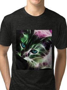 Psychedelic  Kitty Tri-blend T-Shirt