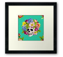 Skull and Flowers. Los Muertos Framed Print