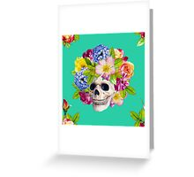 Skull and Flowers. Los Muertos Greeting Card