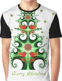 Swirly Christmas tree, snowflakes, birds and text design Graphic T-Shirt