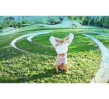 Headstand in full lotus  Photographic Print