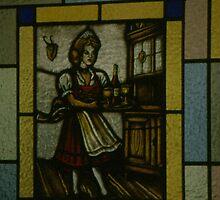 German Beer Garden; Stained Glass Window by BearheartFoto