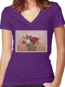 Bouquet in a Window ~ Painting Style Women's Fitted V-Neck T-Shirt