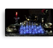 Chess By Candlelight with Tea Canvas Print