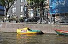 Floating clog and Usain Boot, Amsterdam, Netherlands by Margaret  Hyde