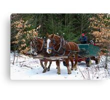 Horse Drawn Wagon Ride in the Snow Canvas Print