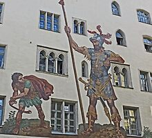David and Goliath mural Regensberg, Germany by Margaret  Hyde