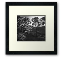 Sunset and Fence Framed Print