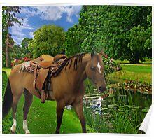 ★ 。* 。*★ 。**SADDLED HORSE READY TO GO ENJOYING THE VIEW  ★ 。* 。*★ 。* Poster