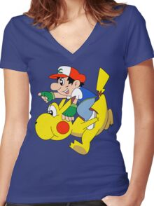 Ashio and Pikashi Women's Fitted V-Neck T-Shirt