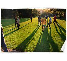 Soccer at sunset Poster