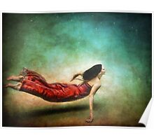 Red Dress Mermaid Poster