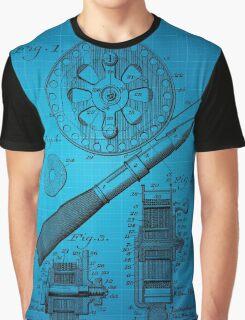 Fishing Reel Patent 1906 - Blue Graphic T-Shirt