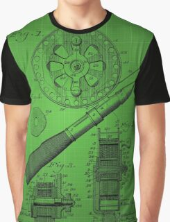 Fishing Reel Patent 1906 - Green Graphic T-Shirt