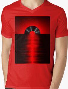 Vinyl sunset red Mens V-Neck T-Shirt