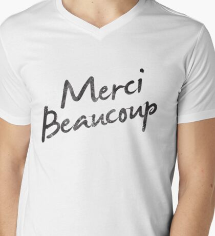 Merci  Mens V-Neck T-Shirt
