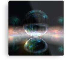Iridescent bubbles in the darkness of airless caverns Metal Print