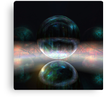 Iridescent bubbles in the darkness of airless caverns Canvas Print