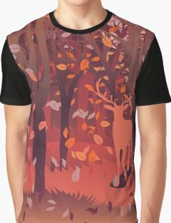 Silhouette of a stag in the forest at the autumn time 2 Graphic T-Shirt