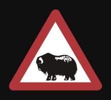 Caution Musk Oxen, Traffic Sign, Greenland Kids Tee