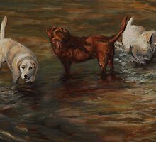 Pastel Painting - Labrador Retrievers in Cherry Creek by Sue Deutscher
