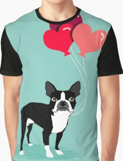 Boston Terrier Valentines Love Balloons gifts for dog lovers pet owners dog breeds customizable Graphic T-Shirt