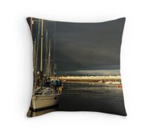 Pwllheli Harbour before the Deluge Throw Pillow