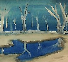 Snowy pond, watercolor by Anna  Lewis, blind artist