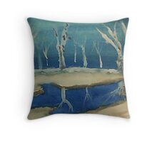 Snowy pond, watercolor Throw Pillow