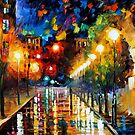 NIGHT BOULEVARD - LEONID AFREMOV by Leonid  Afremov
