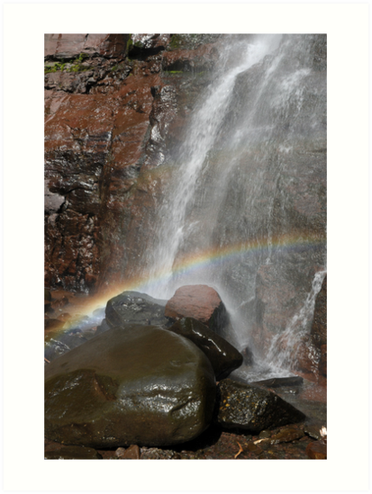 Lower Kaaterskill falls with rainbow, Upstate New York by Anton Oparin