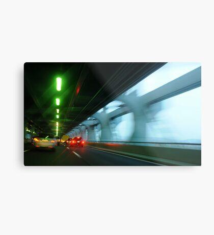 Night traffic motion lights inside of the Verizano Bridge of New York Metal Print