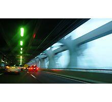 Night traffic motion lights inside of the Verizano Bridge of New York Photographic Print