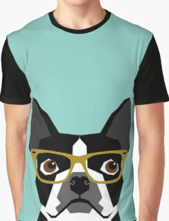Darby - Boston Terrier pet design with hipster glasses in bold and modern colors for pet lovers Graphic T-Shirt