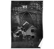 Iron Bridge and cottage Poster