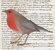 Oil Pastel Red Robin on Vintage Script by Anastasia Mullen