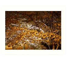 snowy night scene Art Print