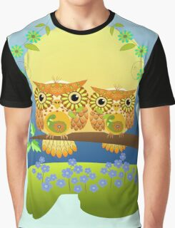 Spring flower power Owls on a branch Graphic T-Shirt
