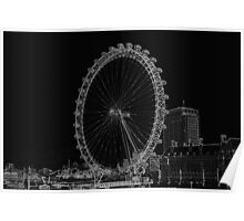 London Eye and River view Black and white Poster
