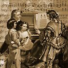 Thou art so dear music - mom and children at piano. by Sandra Foster